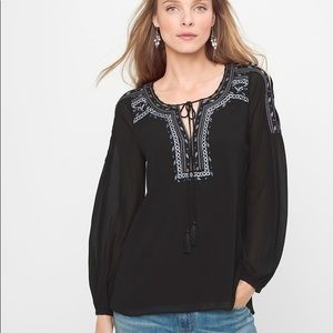 White House Black Market embroidered blouse Sz 12